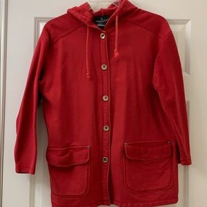 Red Cotton Hooded Jacket